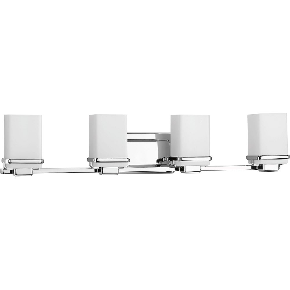 Progress Lighting Collection Metric  Luminaire pour meuble-lavabo à quatre ampoules, chrome poli