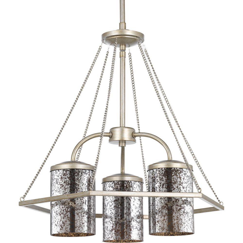 Progress Lighting Collection Indi  Lustre à trois ampoules, crête argentée