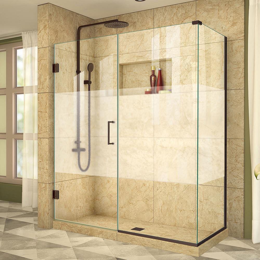 DreamLine Unidoor Plus 34-3/8-inch x 54-1/2-inch x 72-inch Hinge Shower Enclosure with Half Frosted Glass Door in Oil Rubbed Bronze