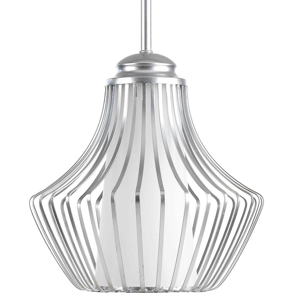 Progress Lighting Collection Finn – Luminaire suspendu à ampoule unique, argenté métallique