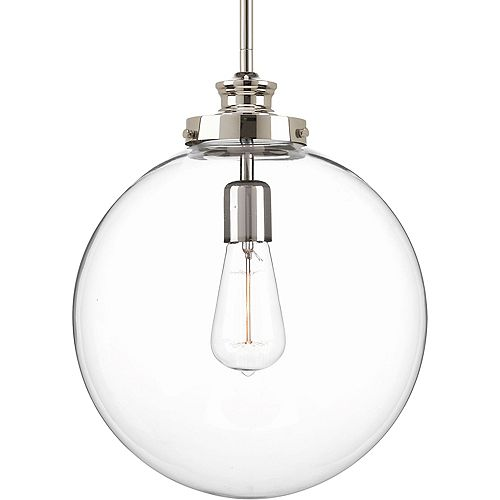 Collection Penn – Luminaire suspendu à ampoule unique, nickel poli