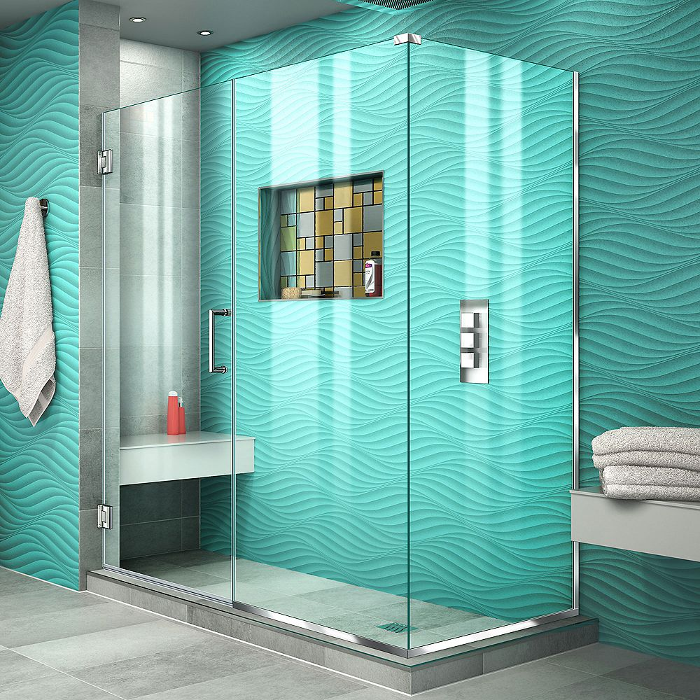 DreamLine Unidoor Plus 30-3/8-inch x 56-inch x 72-inch Hinged Shower Enclosure in Chrome