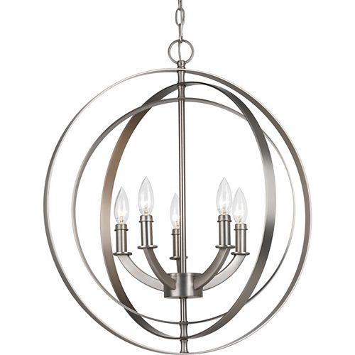 Collection Equinox – Luminaire suspendu pour entrée à cinqampoules, argenté poli