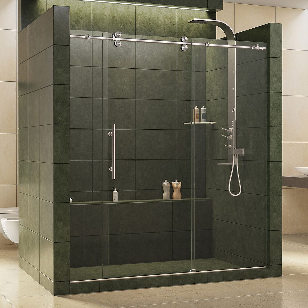 DreamLine Enigma 68-inch to 72-inch x 79-inch Frameless Sliding Shower Door in Brushed Stainless Steel and 1/2-inch Exclusive Glass
