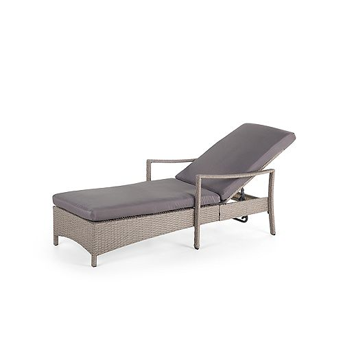 Adjustable Wicker Lounge Chair Grey - Fausto