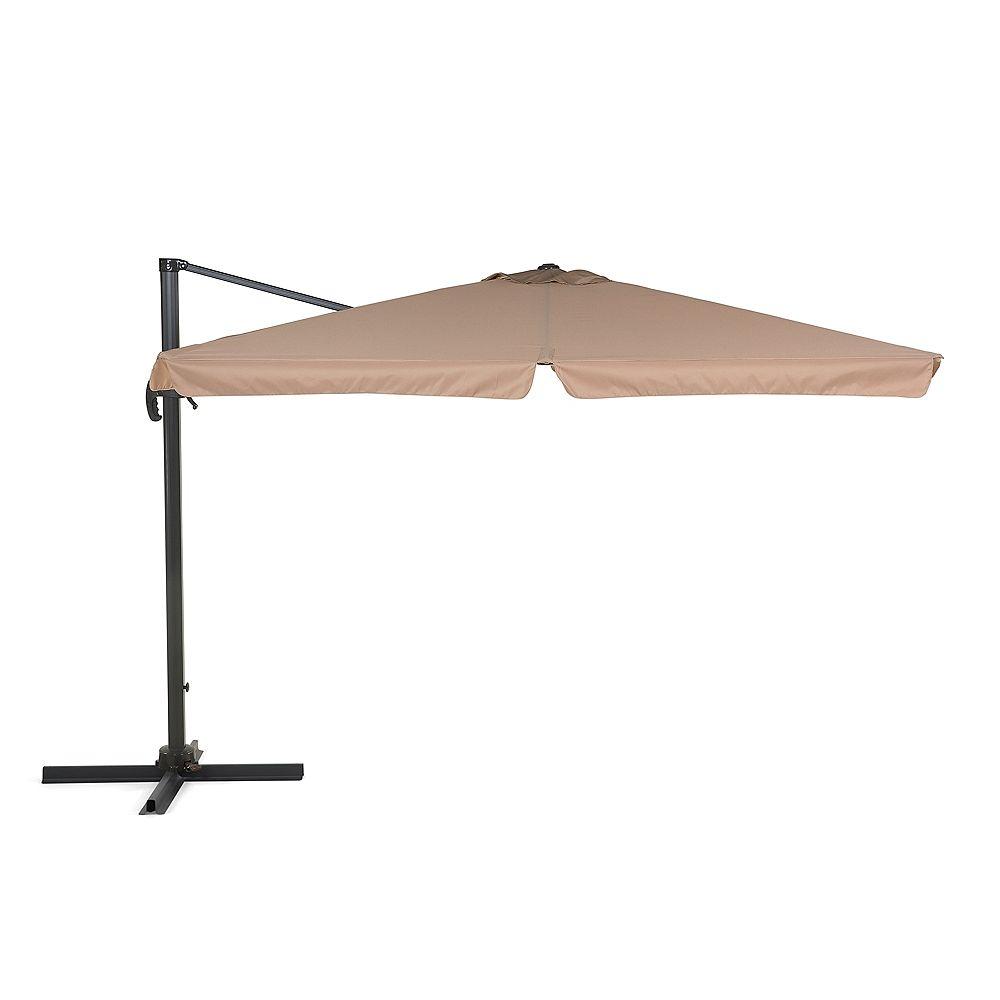 Velago Parasol en métal - toile mokka carrée - 3 x 3m - MORI