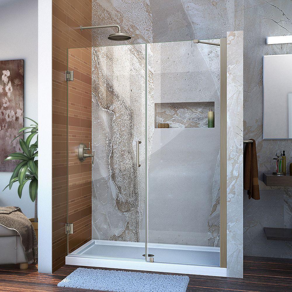 DreamLine DreamLine Unidoor 130 cm x 183 cm Porte de douche Articulée Sans cadre, fini Nickel Brossé