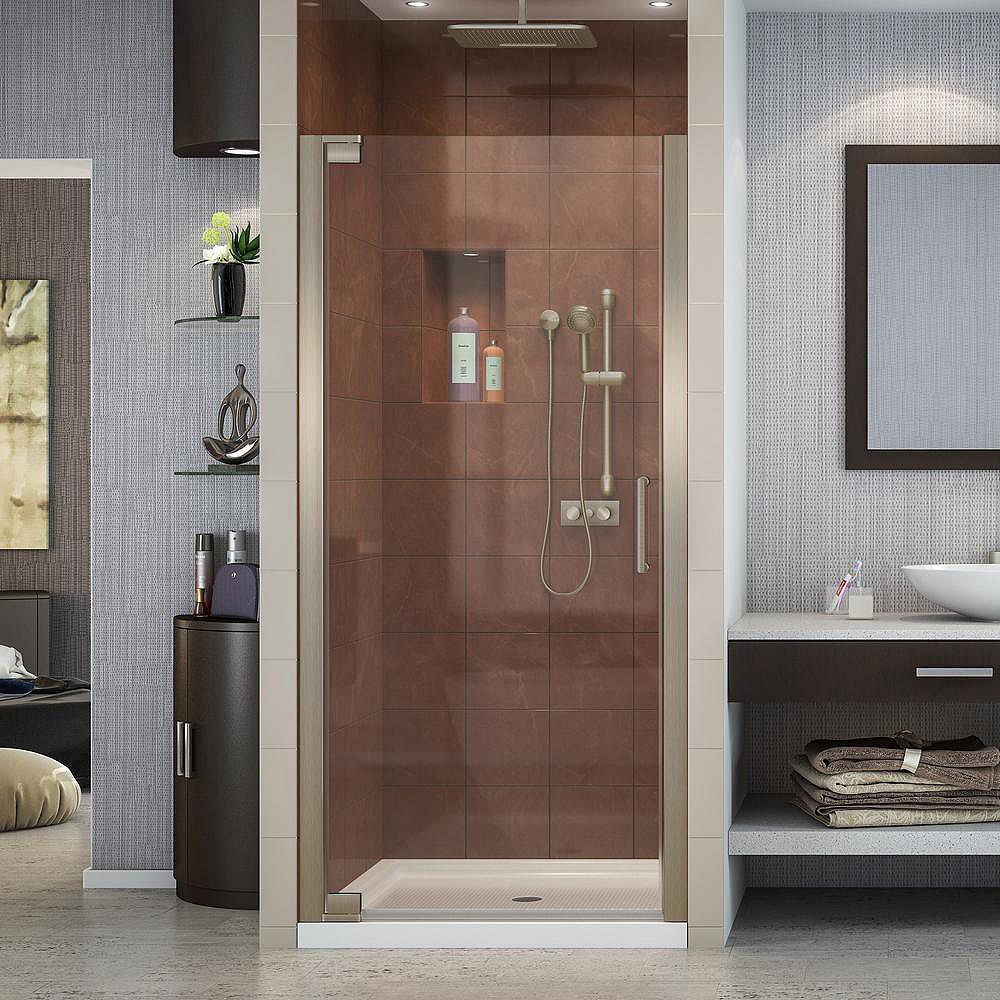DreamLine Elegance 32-inch x 32-inch x 74.75-inch Semi-Frameless Pivot Shower Door in Brushed Nickel and Center Drain Shower Base