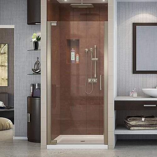 Elegance 32-inch x 32-inch x 74.75-inch Semi-Frameless Pivot Shower Door in Brushed Nickel and Center Drain Shower Base