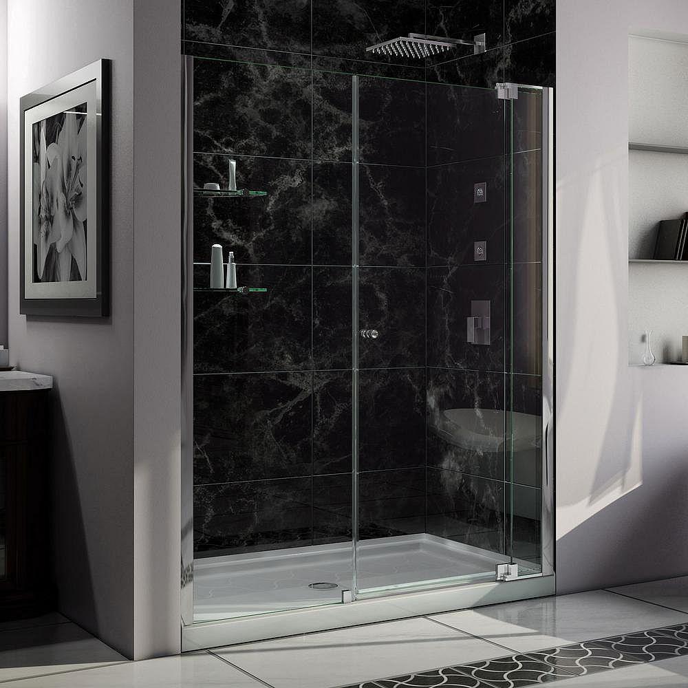 DreamLine Allure 32-inch x 60-inch x 75.75-inch Semi-Frameless Pivot Shower Door in Chrome with Center Drain White Acrylic Base