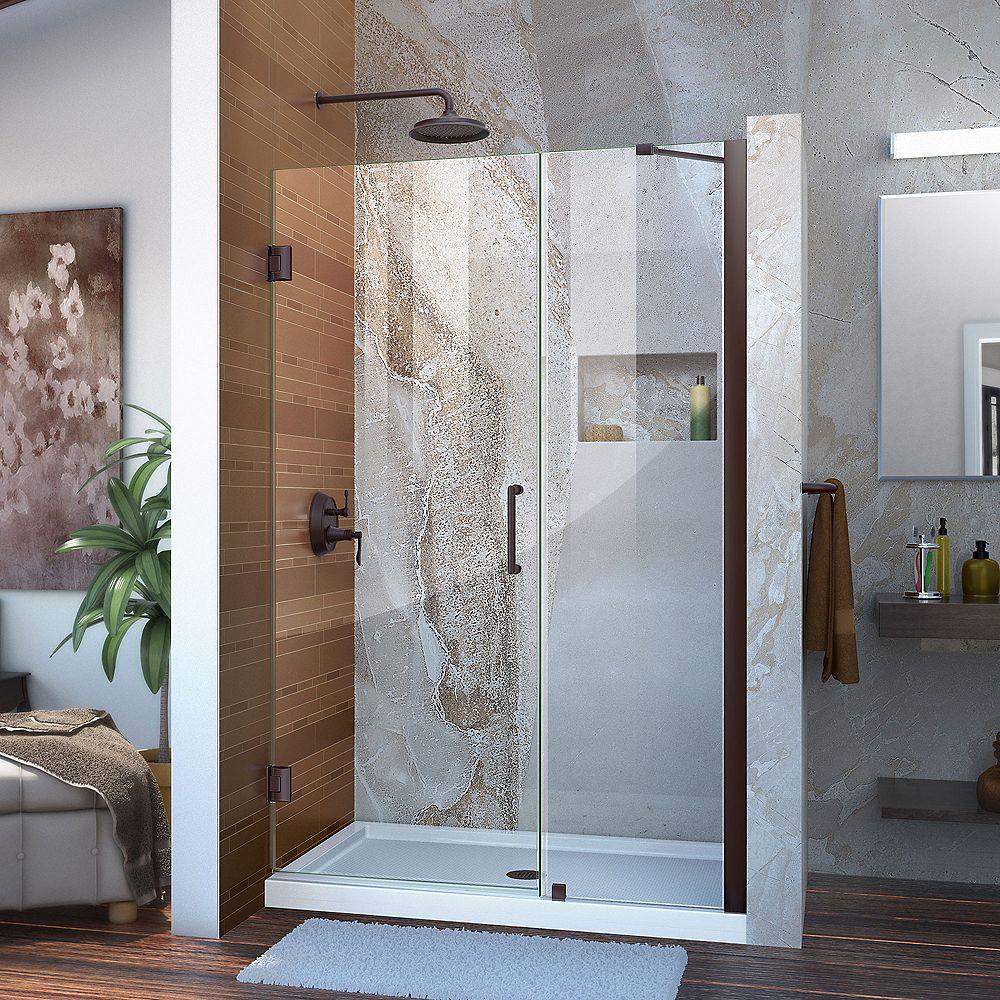 DreamLine DreamLine Unidoor 107 cm x 183 cm Porte de douche Articulée Sans cadre, fini Bronze Huilé