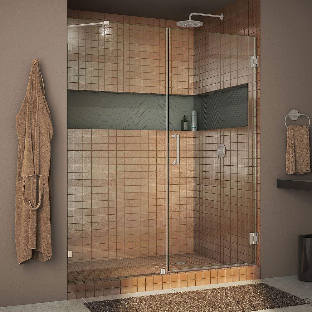 DreamLine Unidoor Lux 45-inch x 72-inch Frameless Pivot Shower Door in Brushed Nickel with Handle