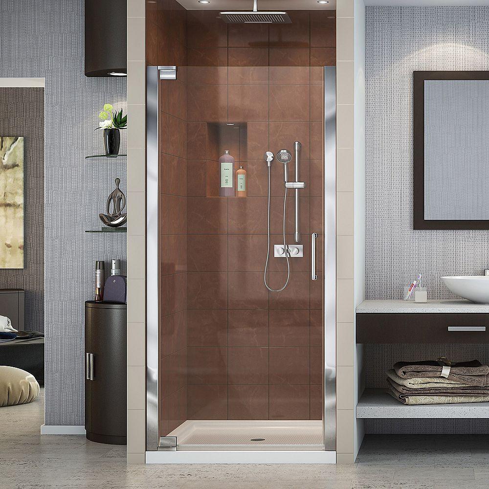 DreamLine Elegance 25-1/4-inch to 27-1/4-inch x 72-inch Semi-Frameless Pivot Shower Door in Chrome