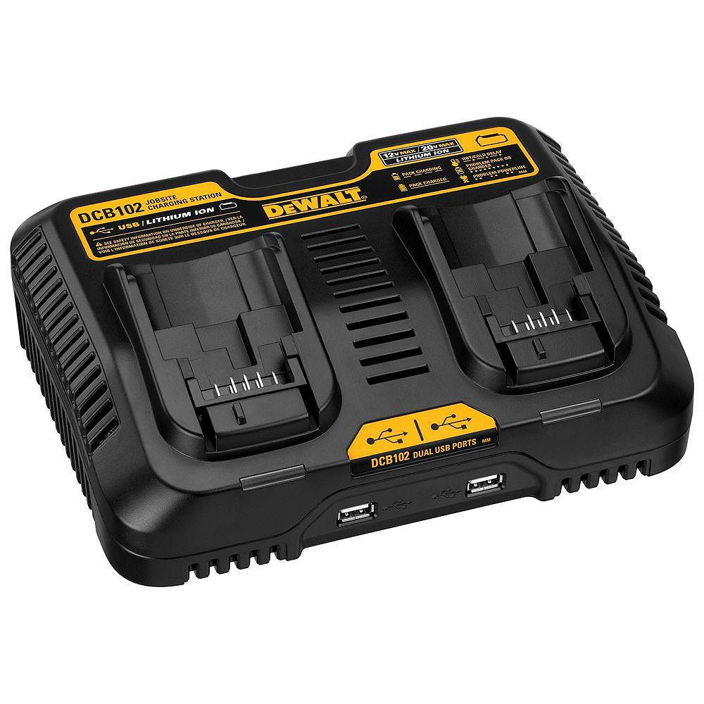 DEWALT 12V to 20V MAX Lithium-Ion Dual Port Jobsite Fast Charging Station with (2) USB Ports