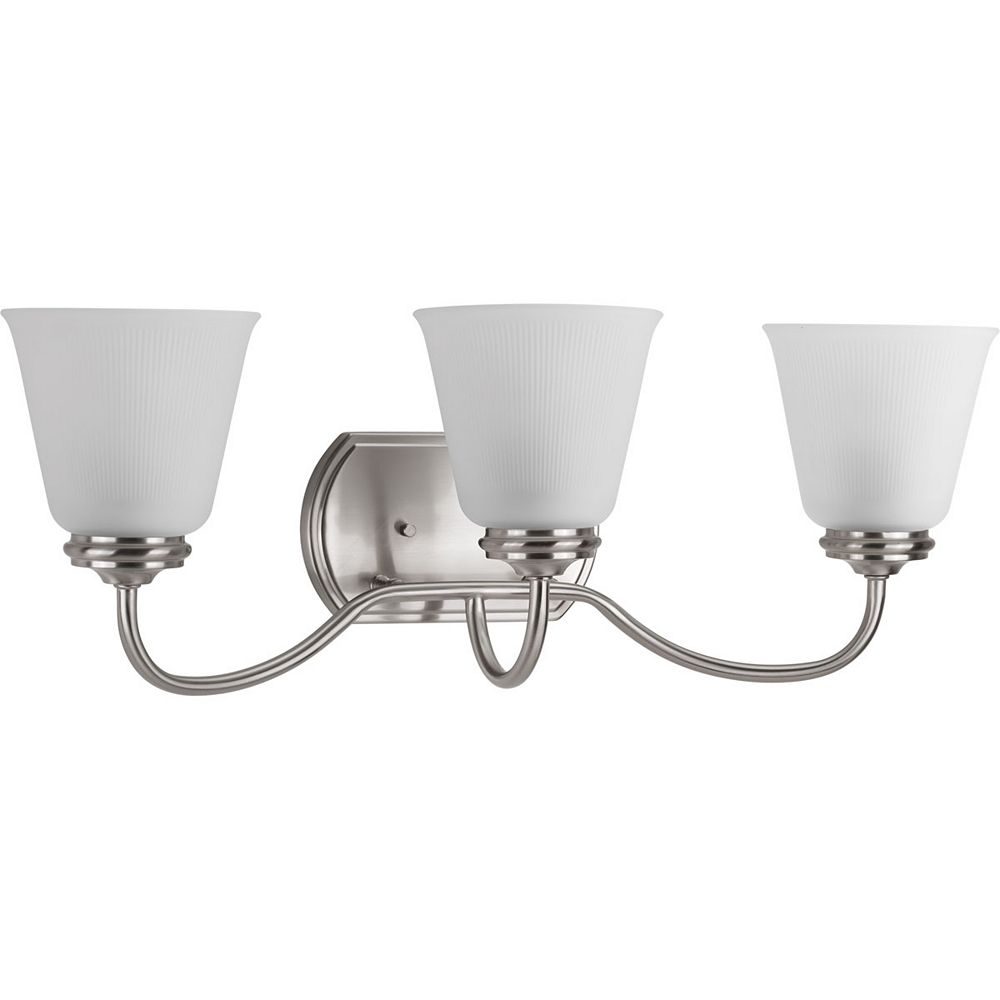 Progress Lighting Collection Keats  Luminaire pour meuble-lavabo à trois ampoules, nickel brossé