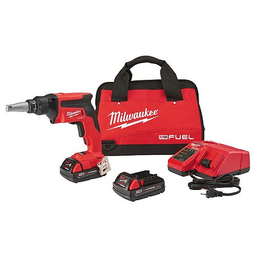 Milwaukee Tool M18 FUEL 18V Lithium-Ion Cordless Compact Drywall Screw Gun Kit with (2) 2.0Ah Batteries