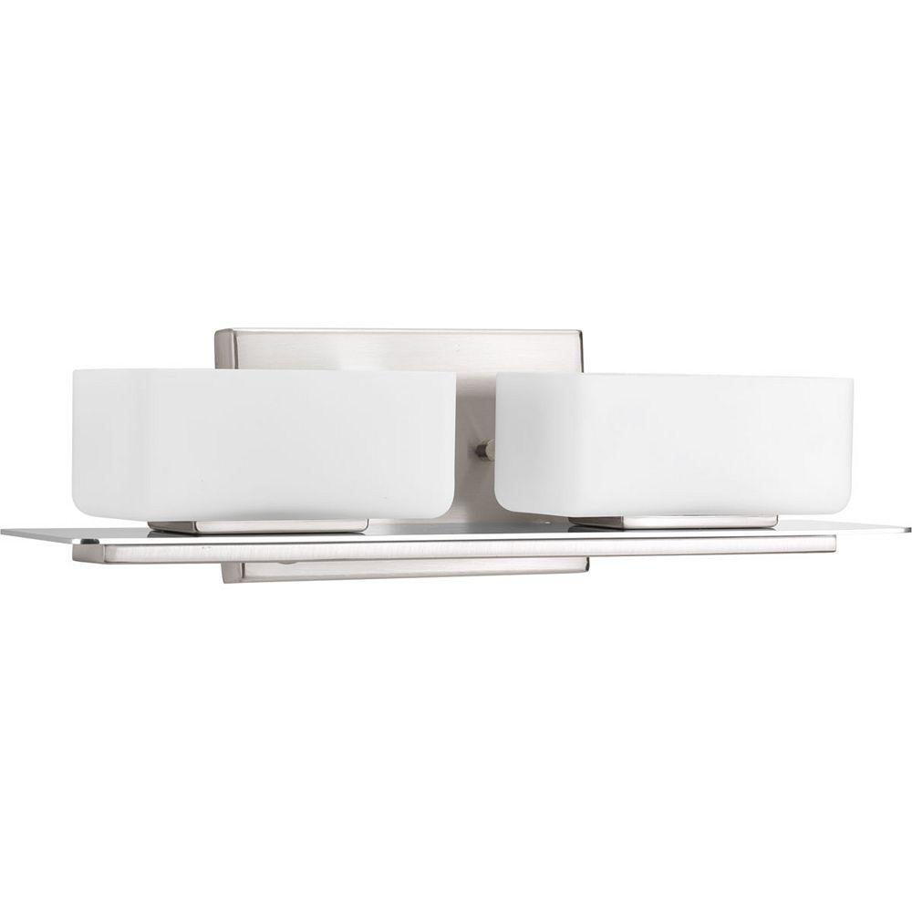 Progress Lighting Collection Rush  Luminaire pour meuble-lavabo à deux ampoules, nickel brossé