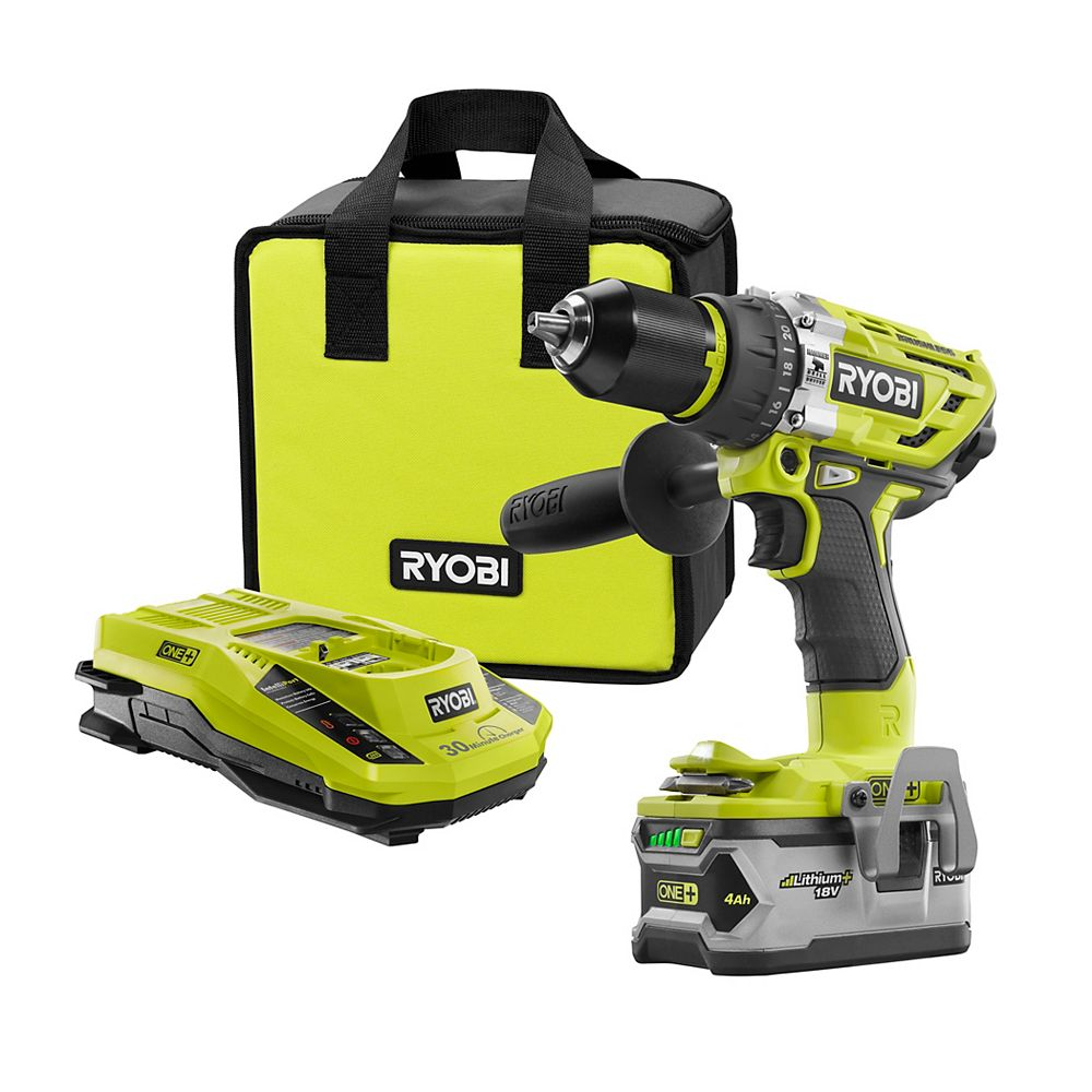 RYOBI 18V ONE+ Cordless Brushless Hammer Drill/Driver Kit with (1) 4.0 Ah Battery, Charger and Bag