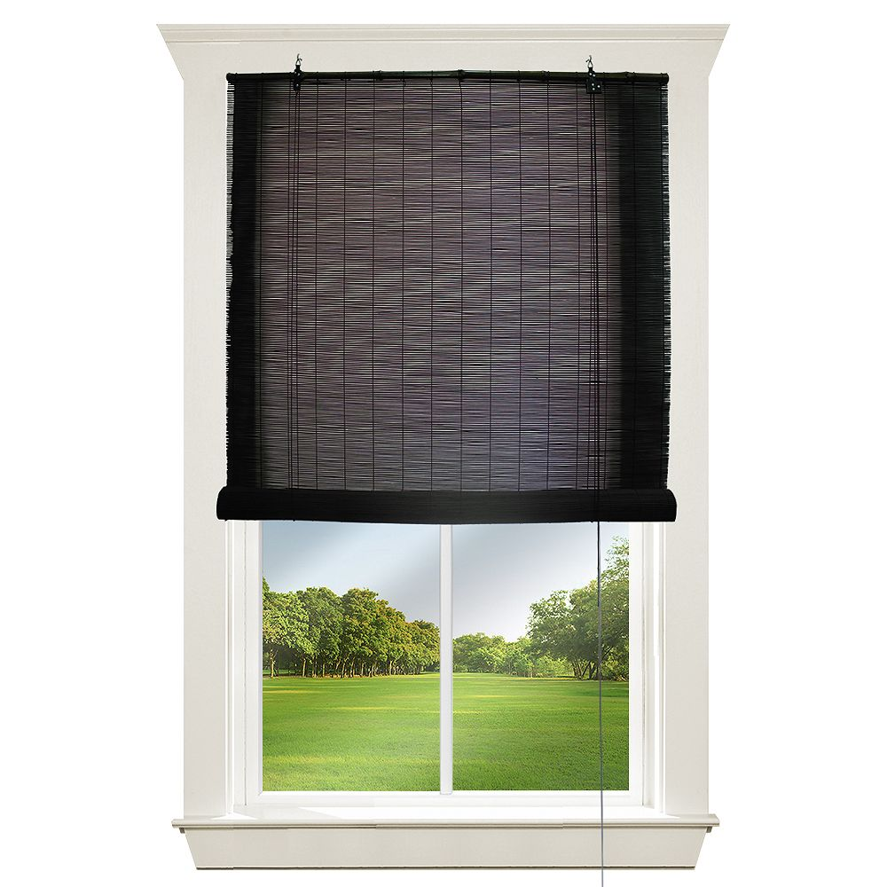 Hampton Bay 48-inch W x 72-inch L, Bamboo Roll Up Blinds in Black