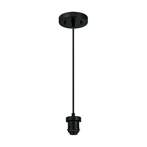 Mini-suspendu plat à une lumière, noir
