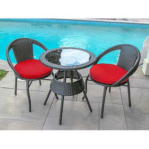 3-Piece Patio Bistro Set Black Round Table Steel Frame in Red Cushion