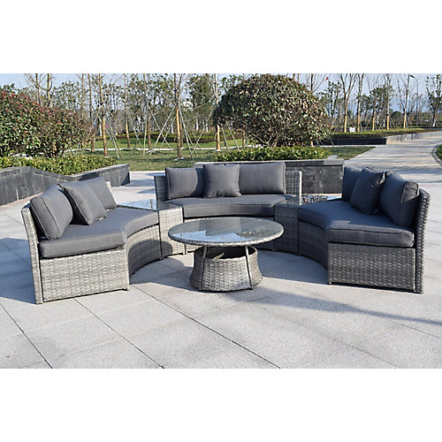 6-Piece Patio Wicker Sofa Set in Grey with Round Table and Grey Cushions