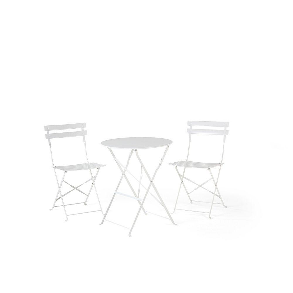 Velago Table et 2 chaises de jardin en acier blanc - Fiori