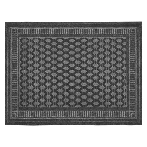 Paillasson rectangulaire embossé, 3 pi x 4 pi, gris