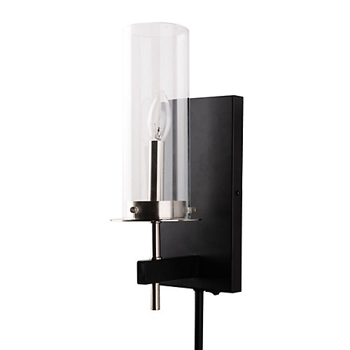Contemporary 1-Light Glass Plug-in Sconce with Cord Covers