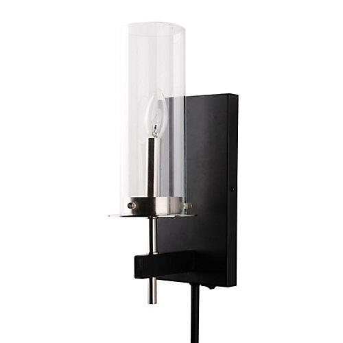 Applique contemporaine en verre, une ampoule, à brancher, avec moulures cache-fil