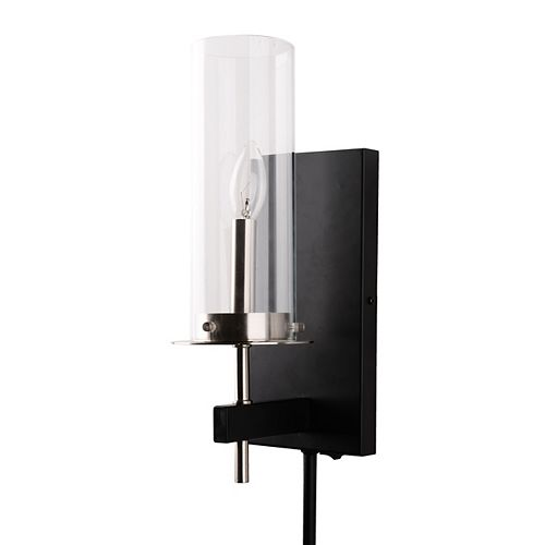 Home Decorators Collection Contemporary 1-Light Glass Plug-in Sconce with Cord Covers