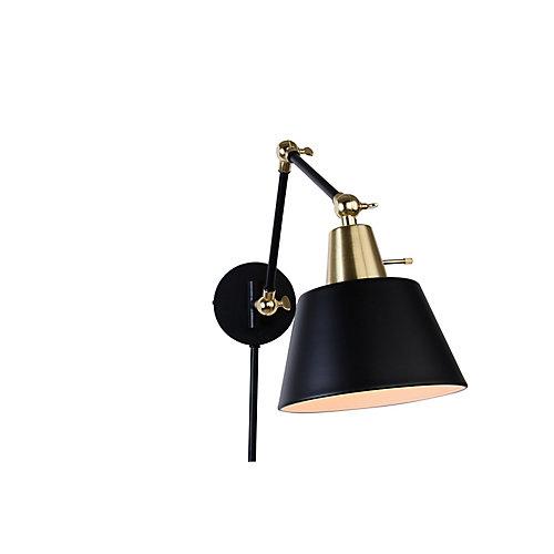 Applique à bras extensible, placage de laiton et noir mat, une ampoule, avec moulures cache-fil