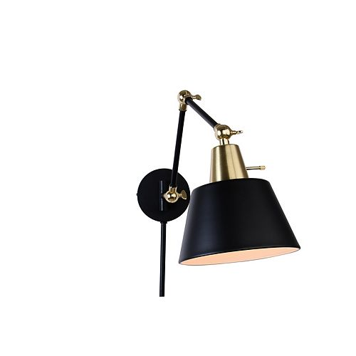 1-Light Plated Brass and Matte Black Extendable Plug-in Sconce with Cord Covers