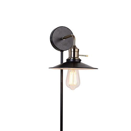 Industrial 1-Light Plated Antique Brass Plug-In Sconce with Cord Covers
