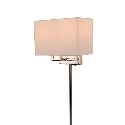 2-Light Brushed Nickel Plug-in Sconce with Cord Covers