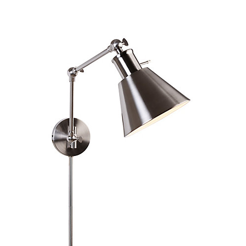 1-Light Brushed Nickel Swing Arm Plug-in Sconce with Cord Covers