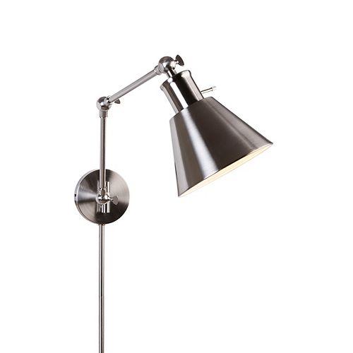 Applique à bras articulé, nickel brossé, une ampoule, avec moulures cache-fil