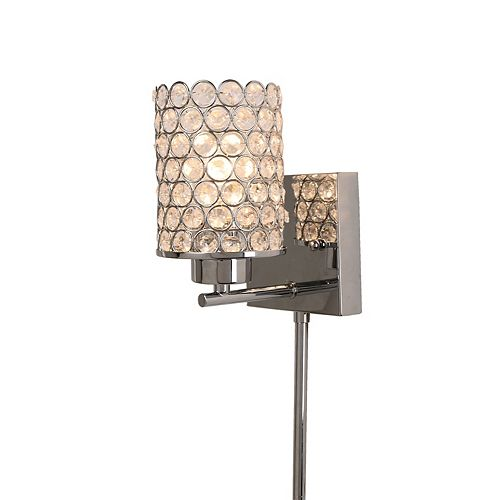 Home Decorators Collection Glam Beaded 1-Light Brushed Nickel Plug-In Sconce with Cord Covers