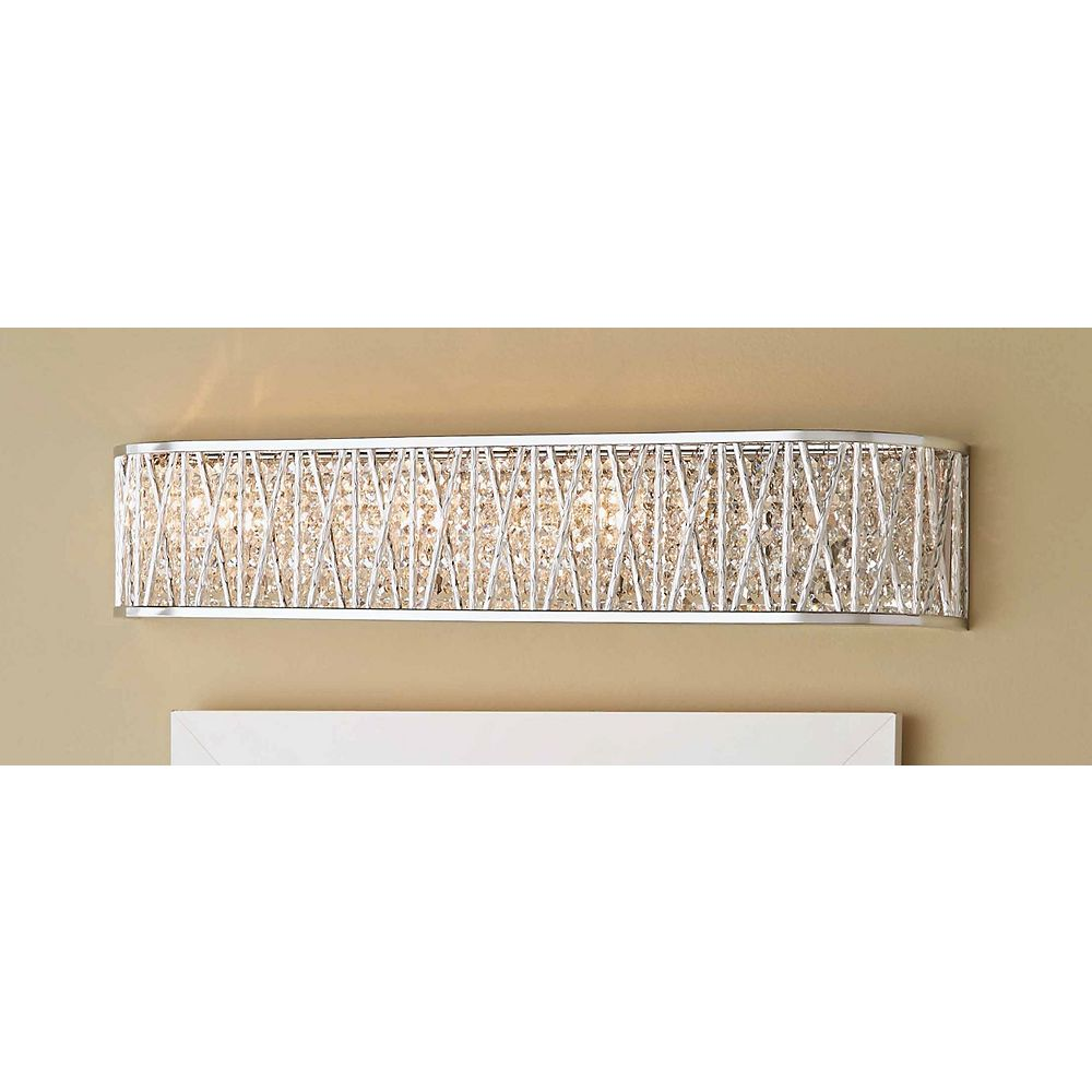 Home Decorators Collection Saynsberry 4-Light Polished Chrome Vanity Light with Crystal Shade