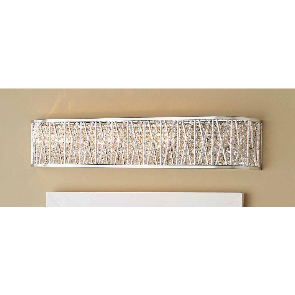 Home Decorators Collection Applique de salle de bains Saynsberry, chrome poli, 4ampoules, diffuseur cristallin