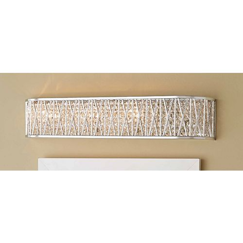 Saynsberry 4-Light Polished Chrome Vanity Light with Crystal Shade