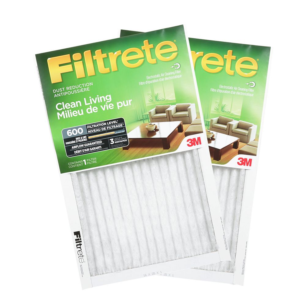Filtrete Filters 16-inch X 20-inch X 1-inch Clean Living MPR 600 Dust Reduction Furnace Filter (2-pack)