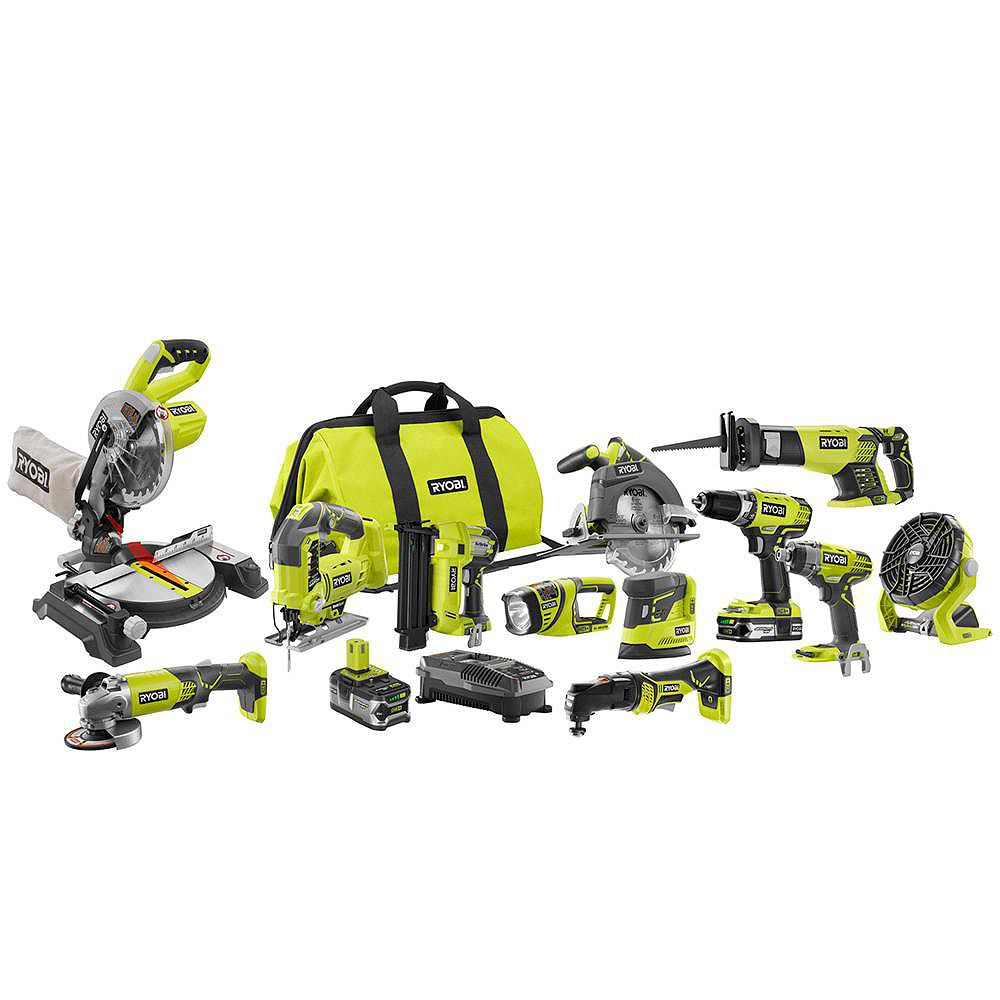 RYOBI 18V ONE+ Lithium-Ion Cordless Combo Kit (12-Tool) with Batteries, Charger and Bag