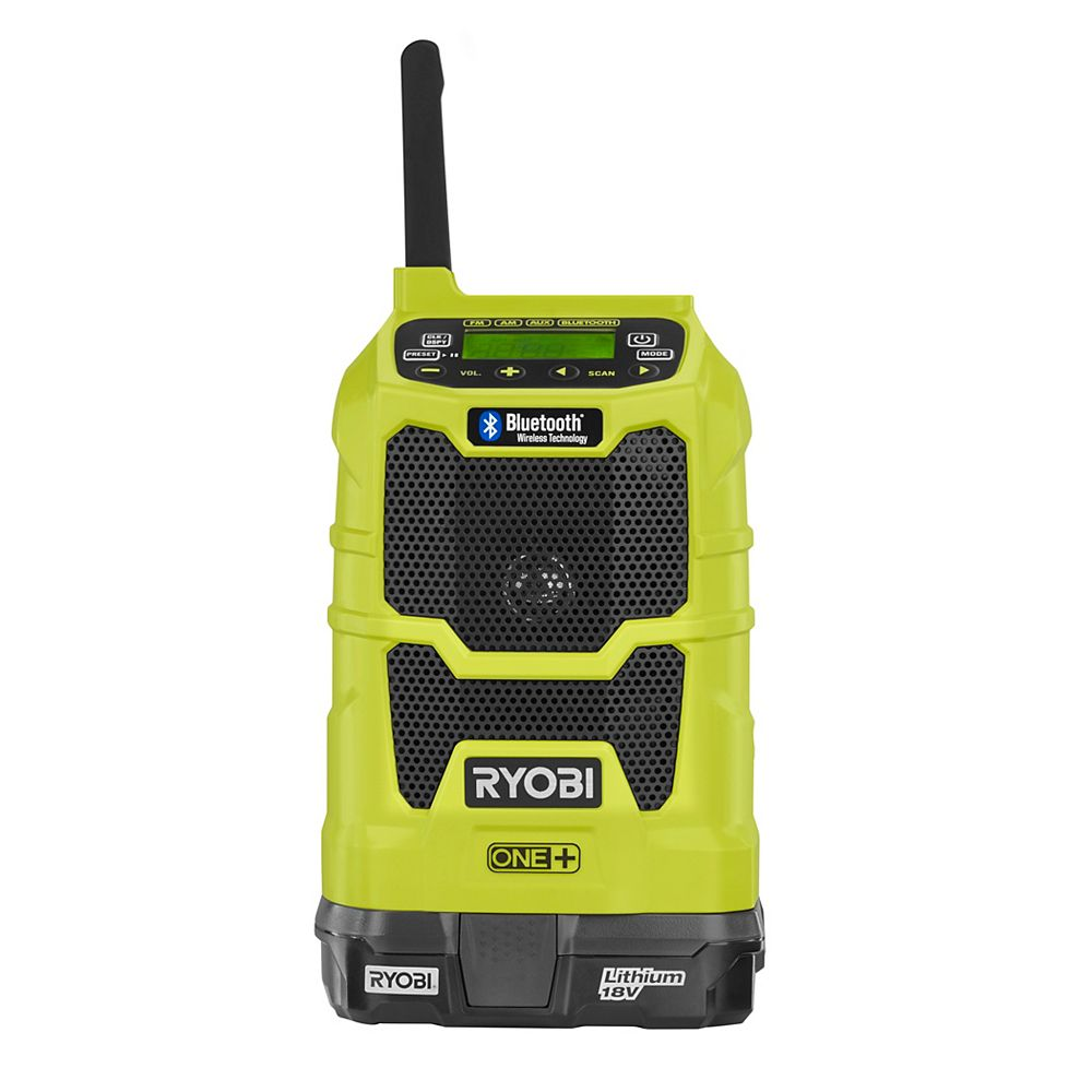 RYOBI 18V ONE+ Lithium-Ion Cordless Compact Radio Kit with Bluetooth Wireless Technology w/ Battery