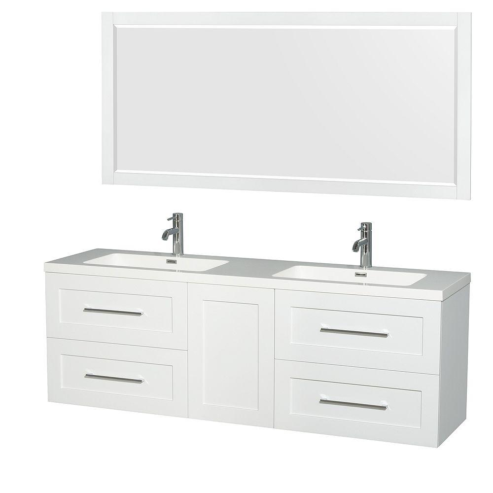 "Wyndham Collection Meuble sdb dbl Olivia 72""blanc brillant, comptoir résine acryl, éviers Intégrés, miroir 70"""