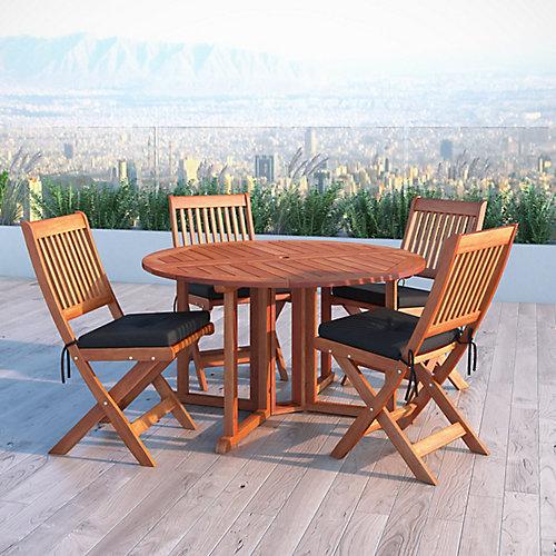 Miramar 5-Piece Hardwood Outdoor Folding Dining Set in Cinnamon Brown