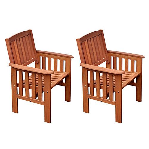 Ensemble de 2 chaises en bois dur couleur cannelle
