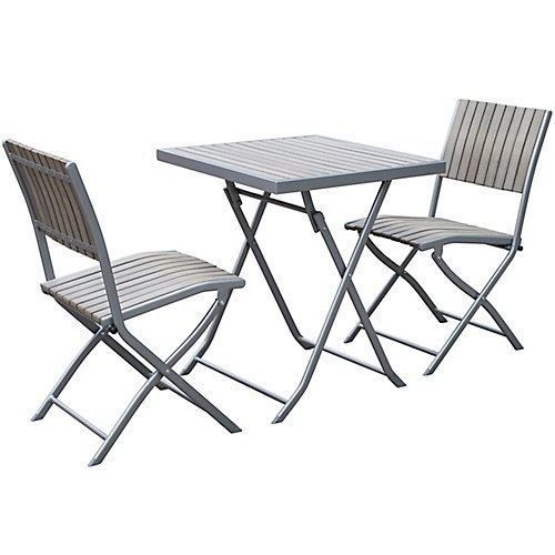 Gallant 3-Piece Outdoor Folding Bistro Set in Sun Bleached Grey
