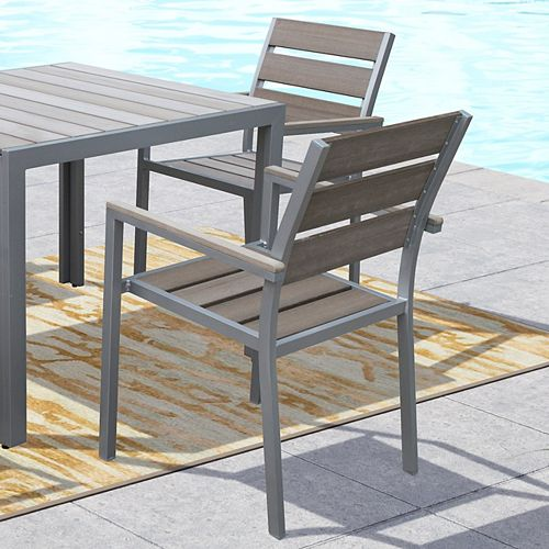 Corliving Gallant Outdoor Dining Chairs in Sun Bleached Grey (Set of 2)