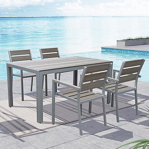 Ensemble de 4 chaises Gallant pour la terrasse, couleur gris blanchi